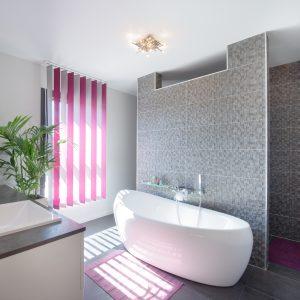 Construction à toiture audacieuse - salle de bain