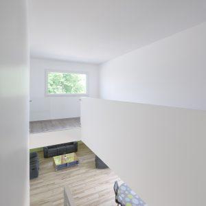 Construction à toiture quatre pans - salle à manger, salon, escalier et premier étage