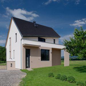 Construction à toiture deux pans - façade avant, flanc et jardin
