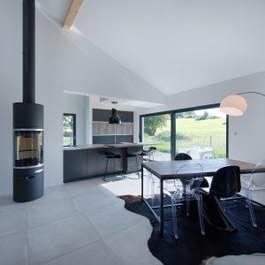 Construction à toiture audacieuse - cuisine, poêle et salle à manger