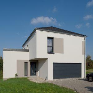 Construction quatre pans et monopente - façade avant et garage